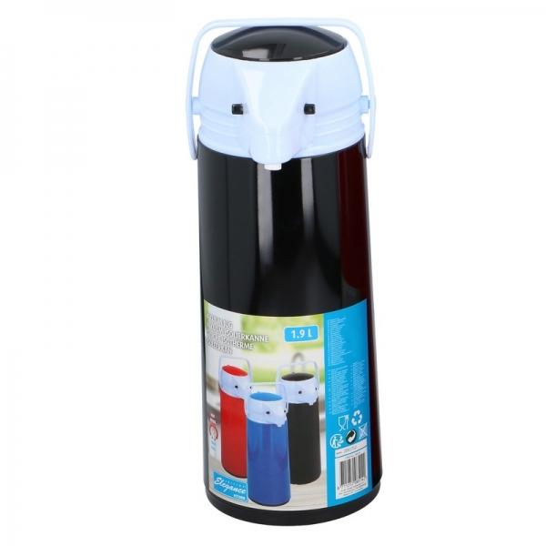 Thermoskan/isoleerkan met dispenser 1.9 liter zwart