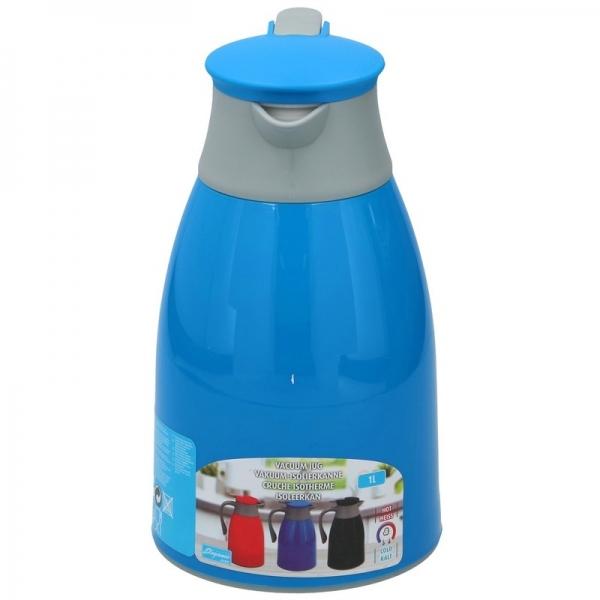 Thermoskan/isoleerkan 1 liter blauw/grijs