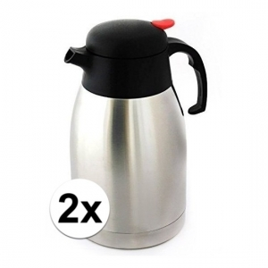 2x Koffiekannen/thermoskannen dubbelwandig 1,5 liter