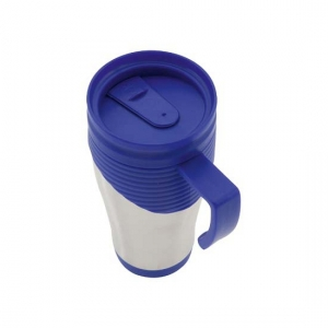 RVS Thermosbeker/warm houd beker blauw 400 ml
