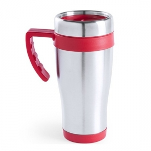 RVS thermosbeker/warm houd beker rood 500 ml