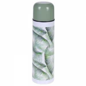RVS thermoskan/isoleerkan 500 ml met planten print type 2