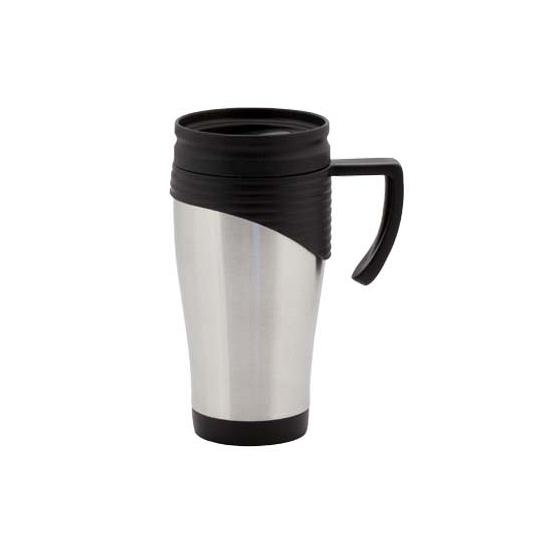 RVS Thermosbeker/warm houd beker zwart 400 ml
