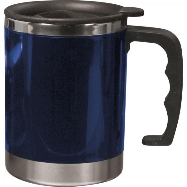 Dubbelwandige thermos/isoleer beker 400 ml blauw