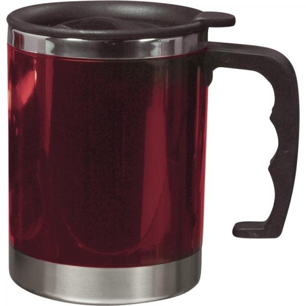 Dubbelwandige thermos/isoleer beker 400 ml rood