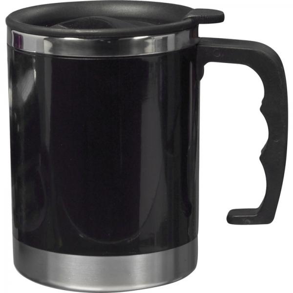 Dubbelwandige thermos/isoleer beker 400 ml zwart
