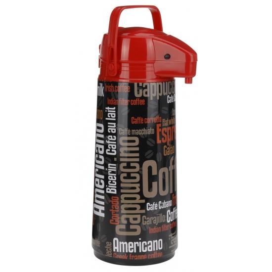 Thermoskan/isoleerkan met dispenser zwart/rood